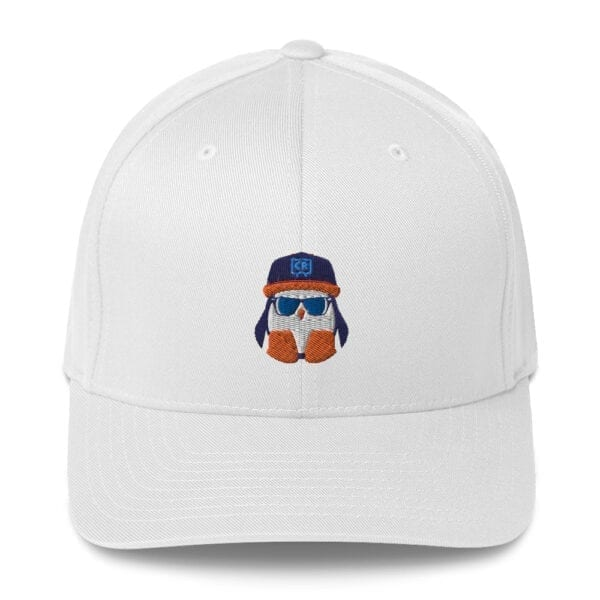 White Crispin Twill Closed-Back Flexfit Hat - FRONT