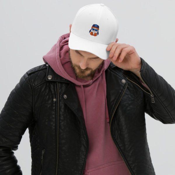 White Crispin Twill Closed-Back Flexfit Hat