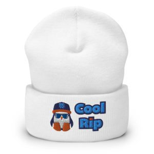 White Cool Rip Cuffed Beanie / Toque / Knit Cap