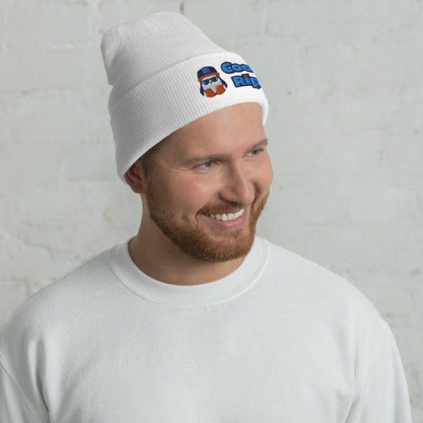 White Cool Rip Cuffed Beanie / Toque / Knit Cap - 1