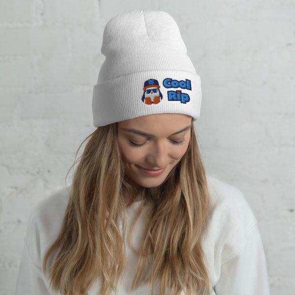 White Cool Rip Cuffed Beanie / Toque / Knit Cap - 2