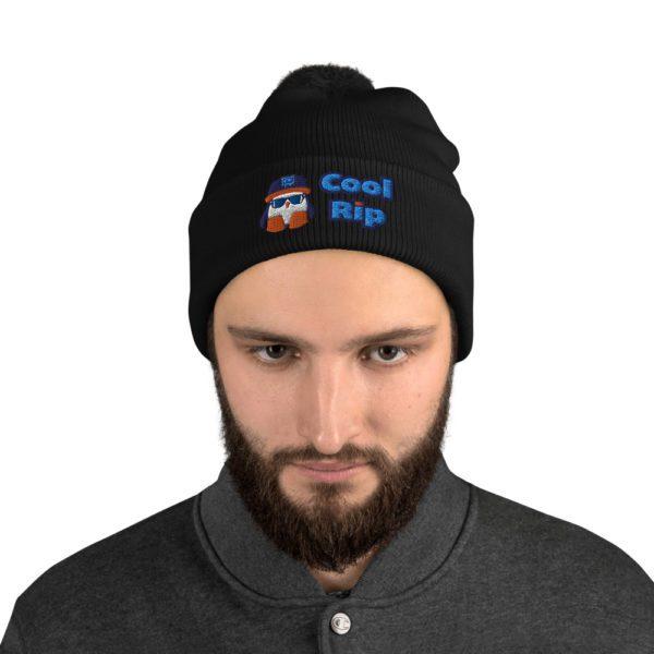 Black Cool Rip Pom Pom Beanie/Toque/Knit Cap - 1