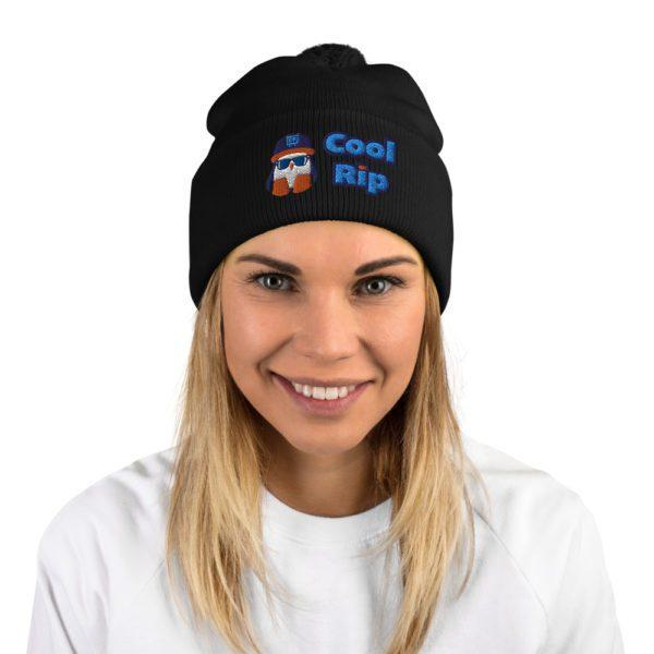 Black Cool Rip Pom Pom Beanie/Toque/Knit Cap - 2