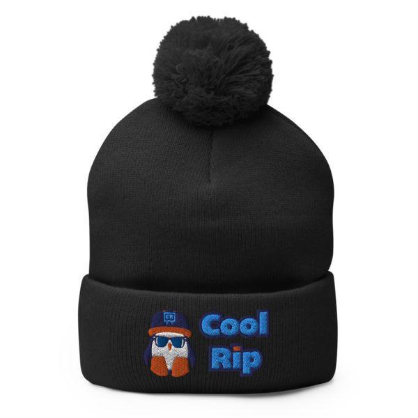Black Cool Rip Pom Pom Beanie/Toque/Knit Cap